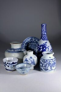 Antique Chinese Blue & White Porcelain LOT of 7 Pieces Great Collector's LOT!