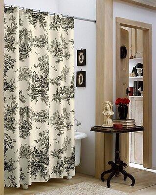 lavish black ivory classic toile shower curtain ebay