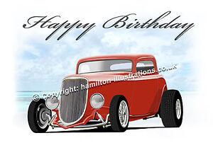 1934 Ford 3 Window Hot Rod 34 Coupe Geburtstagsgrusse Karte Rot Ebay