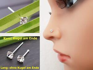 925 Silber Nasenpiercing Nasenstecker Stecker Piercing Grosser Stein Zirkonia
