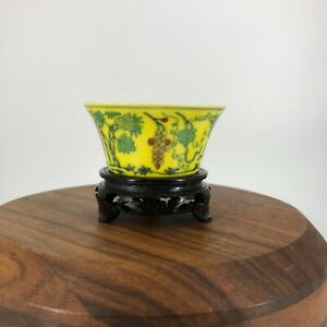 Chinese Collection Chenghua Marked Porcelain Tea Cup China Asian 20th Wood Stand