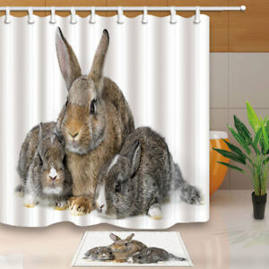 details about fluffy rabbits bunny family bathroom shower curtain set home fabric hooks 71inch