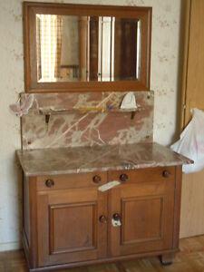 Alte Kommode / Waschtisch - Holz / Marmorplatte - mit Spiegelaufsatz