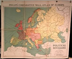 Original 1921 Philips  Comparative WALL Atlas   EUROPE POLITICAL     Image is loading Original 1921 Philips 039 Comparative WALL Atlas EUROPE