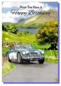 Open Happy Birthday Card Classic Sport Car Men Mens Male Va128b Ebay