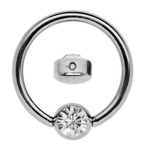 Titan Piercing Ring BCR 1,2mm mit flacher 4mm Klemm-Zirkonia Platte Größe 7-12mm