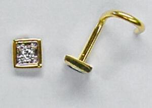 750 ECHT GOLD *** DIAMANT Piercing Nasenstecker 4eck rechteck quadrat raute