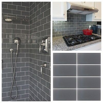 3 x6 gray crystal glass subway tile for kitchen bathroom shower spa wall ebay