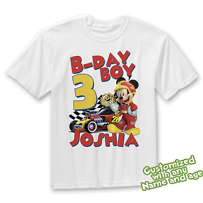 Mickey Mouse Roadster Racer Birthday Shirt Personalized With Name And Age Ebay