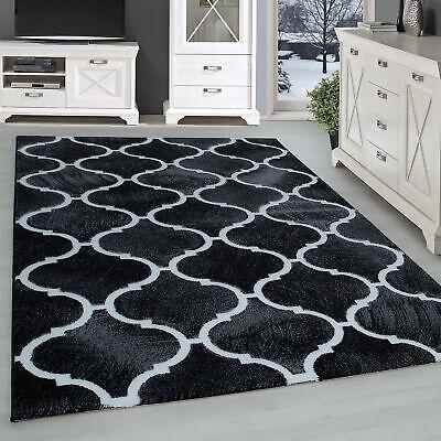 a poils ras tapis salon moderne orient design noir motif blanc ebay