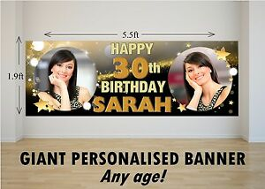 Personalised Giant Large Happy Birthday Banner 18th 21st 30th 40th 50th 60th N21 Ebay