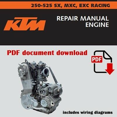 ktm 250 400 450 520 525 sc mxc exc service repair manual 2000 2001 2002  2003  ebay