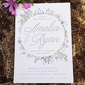 Details About Lilac Lavender Blue Watercolour Rustic Fl Luxury Wedding Invite Sample