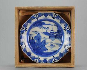 Antique Japanese Arita Sometsuke Plate Edo Period Quality in landscape
