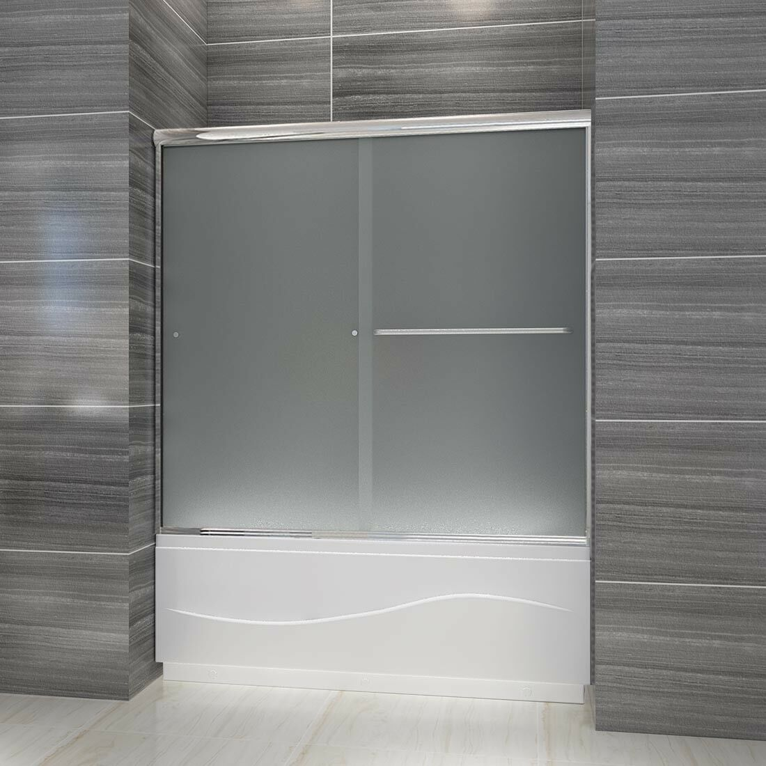 Elegant 60 W Bypass Sliding Shower Bathtub Door 60 W Chrome Finish 1 4 Glass
