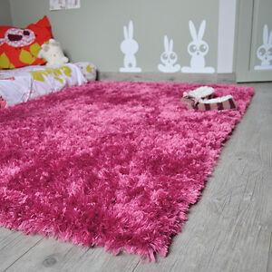 details sur tapis enfant shaggy rose fonce pop a poils longs salon sejour chambre fille