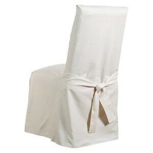 Cotton Duck Long Dining Room Chair Slipcover Claret Sure