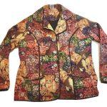 Colorful Tapestry Jacket Blazer Princess Seams W Mystery Cat Print Size L Ebay