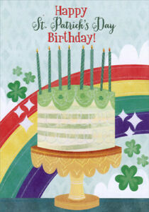 Designer Greetings Birthday Cake And Rainbow St Patrick S Day Birthday Card Ebay