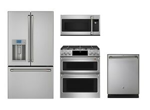details about ge cafe kitchen refrigerator gas double oven range otr microwave dishwasher