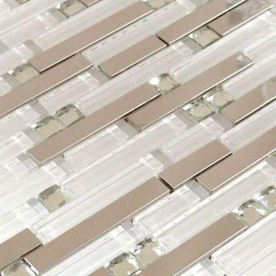 white glass liner mosaic blended polished stainless steel backsplash wall tile ebay