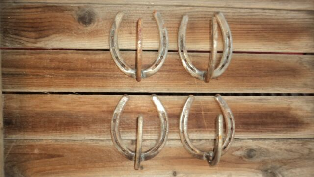 old gun rack rusty plain horseshoe hat