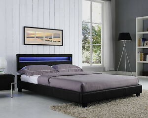 Image Is Loading Double King Size Bed Frame Led Headboard Night