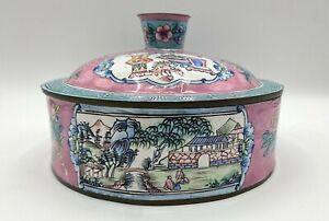 "Antique Chinese Metallic Lidded Box Covered w/ Porcelain Enamel Famille Rose 6"""