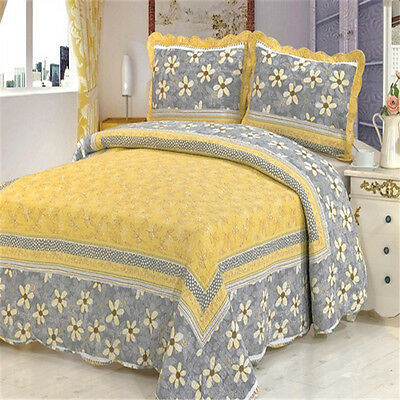 yellow bedspread coverlet set new double queen king bed patchwork quilted cotton ebay