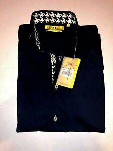 Brio Milano Mens BR632 Long Sleeve Navy Fancy Dress Shirt Sz Small ...