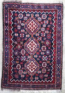 details sur tapis ancien rug oriental orient tribal ethnique persan perse shiraz 1950