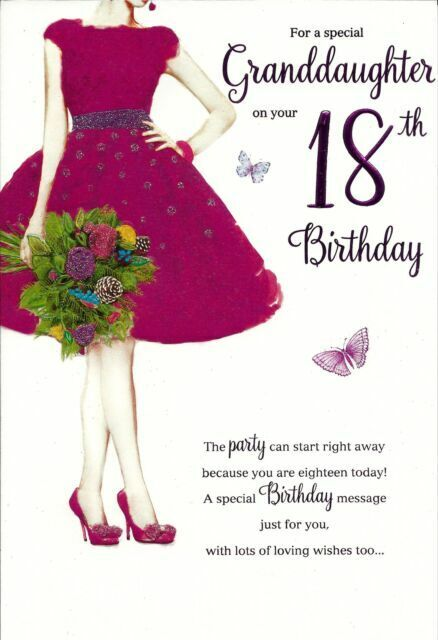 Granddaughter 18th Birthday Card Girl In Cerise Dress With Bunch Of Flowers 8221 For Sale Online Ebay