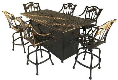 fire pit propane bar table set 7 piece outdoor cast aluminum palm tree bar stool 35426206446 ebay