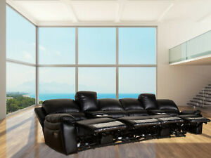 details about 4 seater electric recliner leather air home theater lounge cinema sofa usb couch