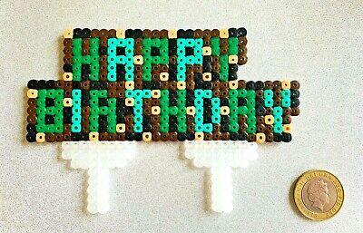 Happy Birthday Cake Topper Minecraft Themed Deko Kind Spiel Pixel Ebay