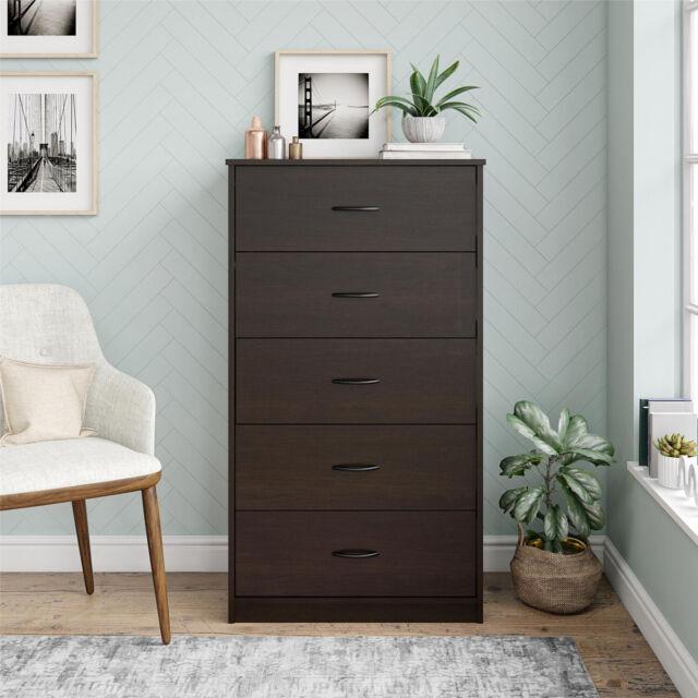 5 drawer dresser chest clothes storage modern bedroom cabinet wood espresso