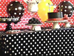 2 Mickey Mouse Polka Dot Table Covers Birthday Party Decorations Red Black Ebay