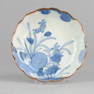 Perfect Antique 19C Arita Plate. Fabulous quality Japanese Porcelain Flowers