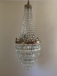 Image Is Loading Antique French Empire Brass Beaded Basket Crystal Chandelier