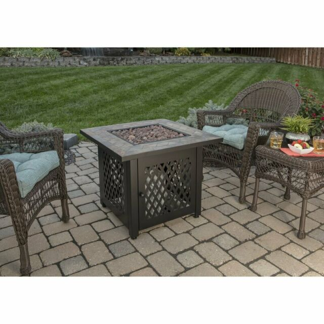 propane fire pit table outdoor fireplace patio heater burner porcelain tile top
