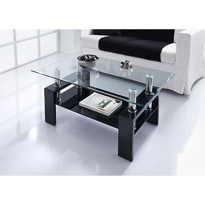 Modern Stylish Luxury Nevada Glass Coffee Table In Black Home Furniture 3200488287321 Ebay