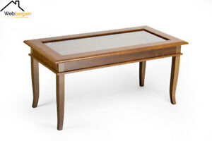 details about vintage rustic coffee table with open glass top storage showcase display cabinet