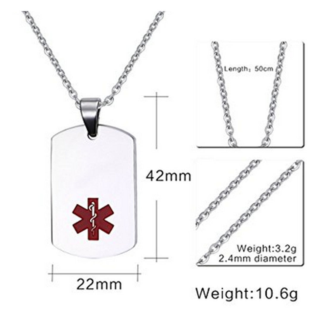Vincenza Stainless Steel Medical Alert Id Dog Tag Pendant