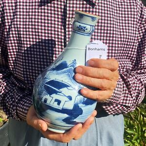 Kangxi Chinese Antique Porcelain Blue And White Beautiful Vase 18th Century