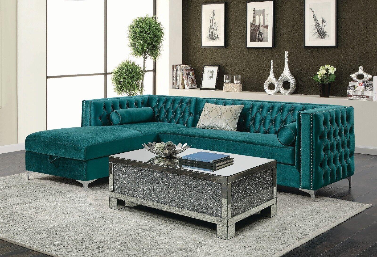 Contemporary Green Velvet Storage Sofa Sectional Living Room Furniture Set
