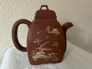 Large Antique Chinese Yixing Zisha Clay Teapot Glazed calligraphy and image
