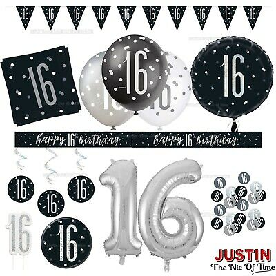 Black 16th Birthday Party Decorations Boys Mens Male Balloons Banners Age 16 Ebay