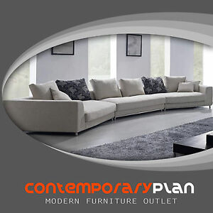 details about contemporary off white grey fabric sectional sofa w pillows modern urban design
