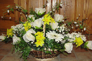 Spring Easter Centerpiece Silk Flower Arrangements Basket Roses Narcissus Fern Ebay