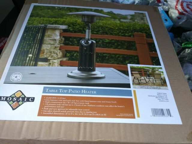 mosaic tabletop patio heater 10000 btu propane outdoors silver